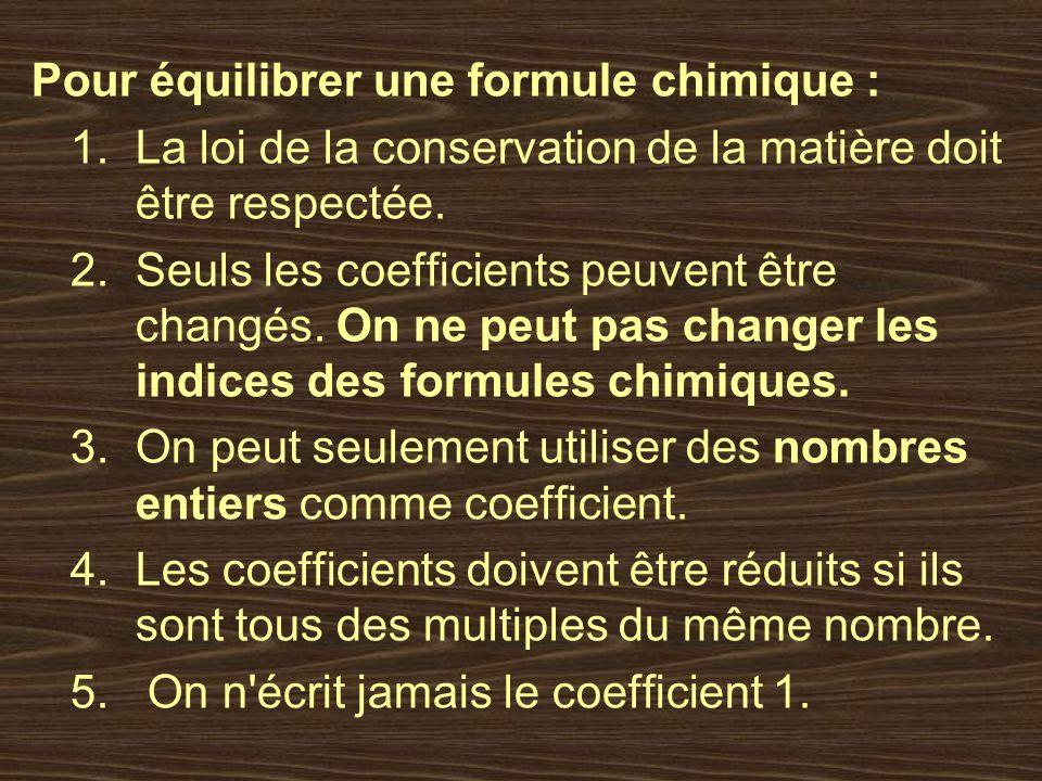 Pour équilibrer une formule chimique : 1.La loi de la conservation de la matière doit être respectée. 2.Seuls les coefficients peuvent être changés. O