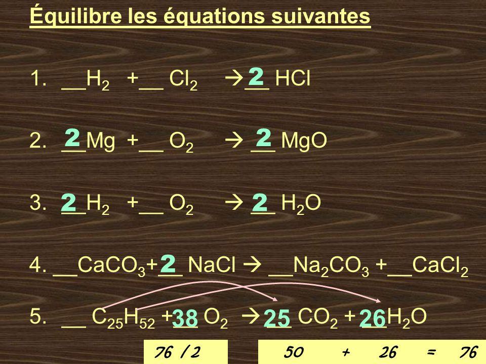 Équilibre les équations suivantes 1.__H 2 +__ Cl 2 __ HCl 2.__Mg +__ O 2 __ MgO 3.__H 2 +__ O 2 __ H 2 O 4. __CaCO 3 +__ NaCl __Na 2 CO 3 +__CaCl 2 5.