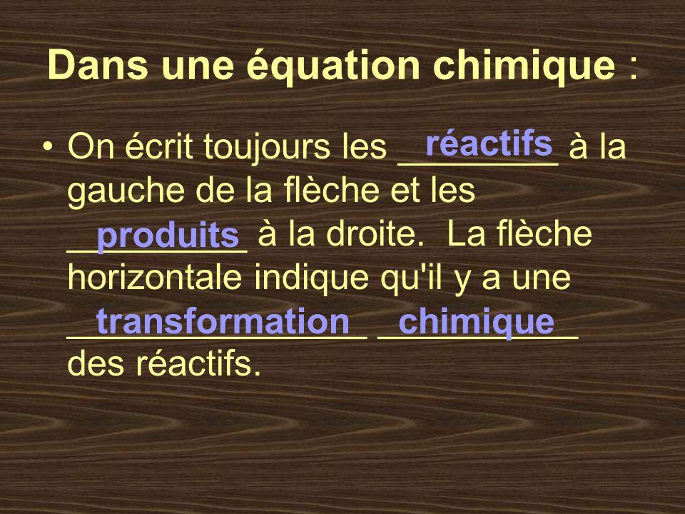 Il existe deux types déquations : Les équations ____________ : on appelle les réactifs et les produits par leur _______ Exercices page 112 # 1 et 2 nominatives noms