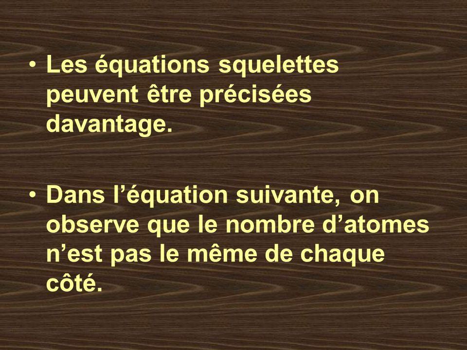 Les équations squelettes peuvent être précisées davantage. Dans léquation suivante, on observe que le nombre datomes nest pas le même de chaque côté.