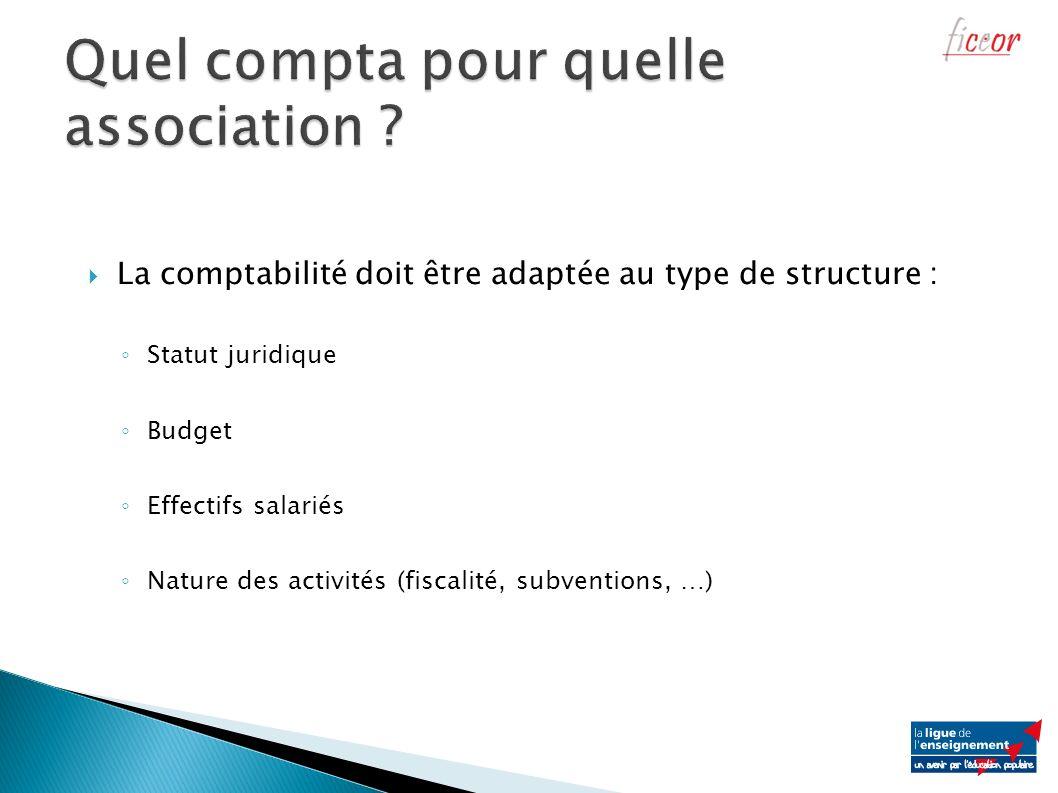La comptabilité doit être adaptée au type de structure : Statut juridique Budget Effectifs salariés Nature des activités (fiscalité, subventions, …)