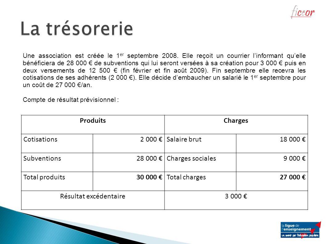ProduitsCharges Cotisations2 000 Salaire brut18 000 Subventions28 000 Charges sociales9 000 Total produits30 000 Total charges27 000 Résultat excédent