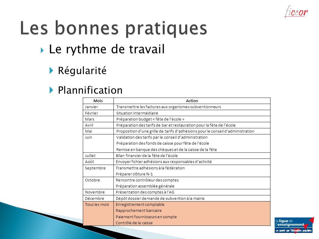 Le rythme de travail Régularité Plannification MoisAction JanvierTransmettre les factures aux organismes subventionneurs FévrierSituation intermédiair