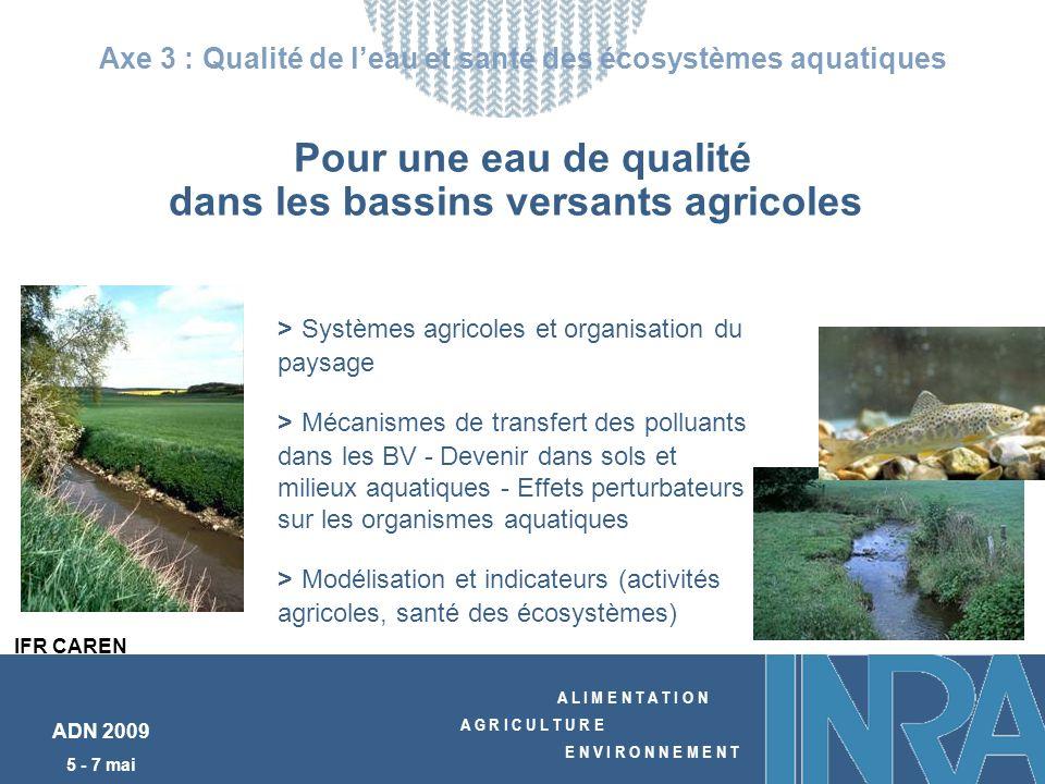 A L I M E N T A T I O N A G R I C U L T U R E E N V I R O N N E M E N T ADN 2009 5 - 7 mai Pour une eau de qualité dans les bassins versants agricoles Axe 3 : Qualité de leau et santé des écosystèmes aquatiques > Systèmes agricoles et organisation du paysage > Mécanismes de transfert des polluants dans les BV - Devenir dans sols et milieux aquatiques - Effets perturbateurs sur les organismes aquatiques > Modélisation et indicateurs (activités agricoles, santé des écosystèmes) IFR CAREN