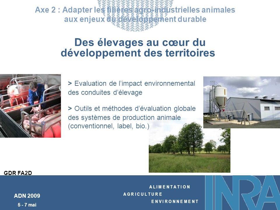 A L I M E N T A T I O N A G R I C U L T U R E E N V I R O N N E M E N T ADN 2009 5 - 7 mai Des élevages au cœur du développement des territoires Axe 2