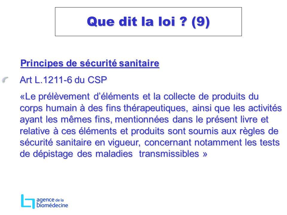 Principes de sécurité sanitaire Principes de sécurité sanitaire Art L.1211-6 du CSP «Le prélèvement déléments et la collecte de produits du corps huma