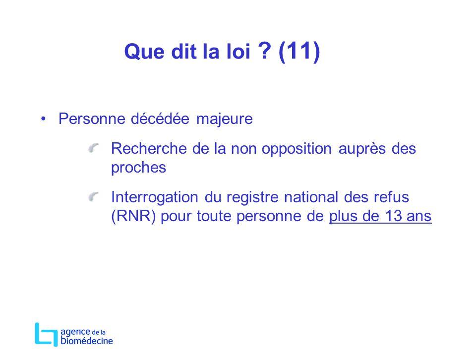 Que dit la loi ? (11) Personne décédée majeure Recherche de la non opposition auprès des proches Interrogation du registre national des refus (RNR) po