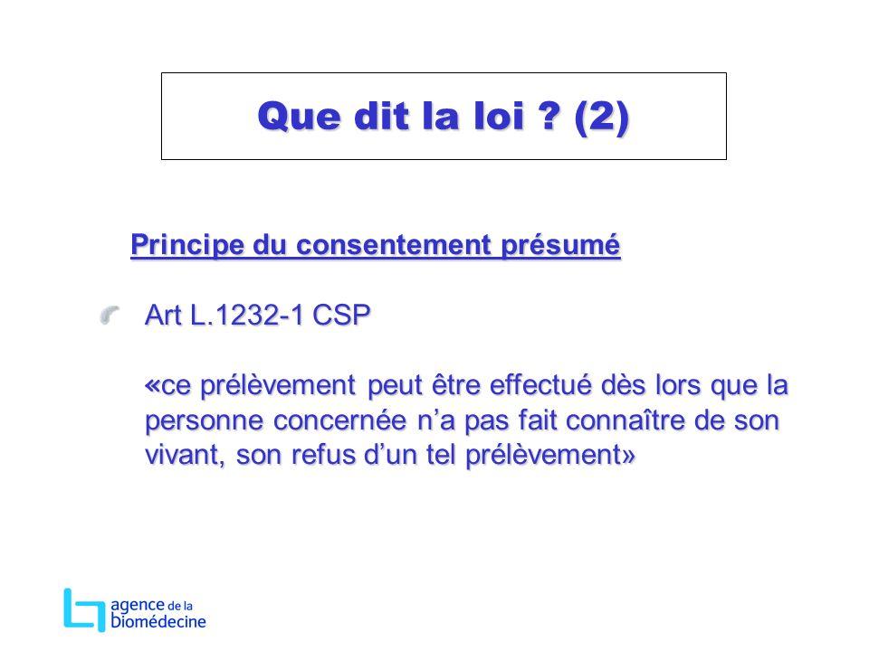 Principe du consentement présumé Principe du consentement présumé Art L.1232-1 CSP « ce prélèvement peut être effectué dès lors que la personne concer