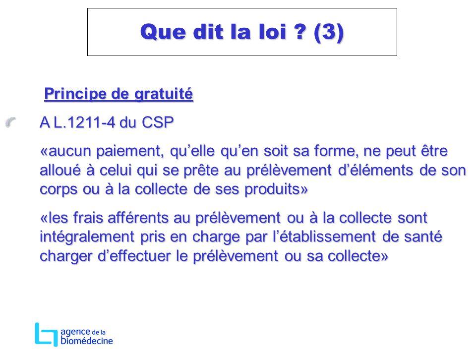 Principe de gratuité Principe de gratuité A L.1211-4 du CSP «aucun paiement, quelle quen soit sa forme, ne peut être alloué à celui qui se prête au pr