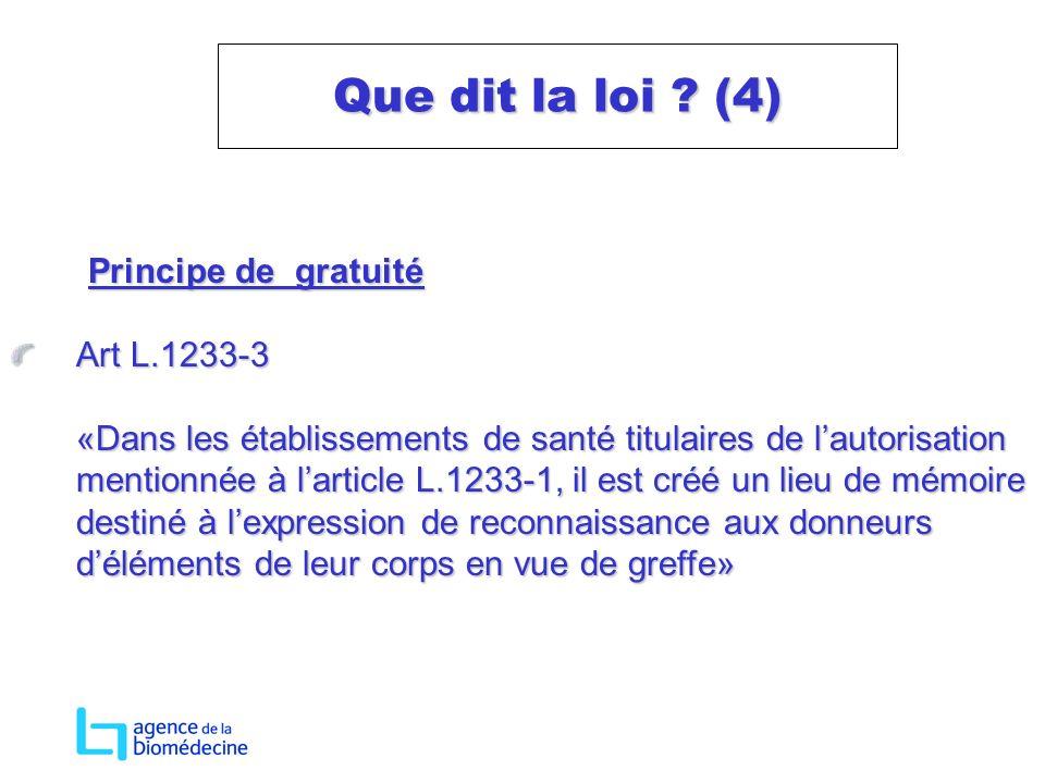 Principe de gratuité Principe de gratuité Art L.1233-3 «Dans les établissements de santé titulaires de lautorisation mentionnée à larticle L.1233-1, i
