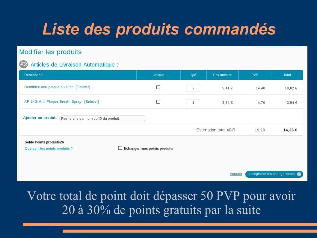 Liste des produits commandés Votre total de point doit dépasser 50 PVP pour avoir 20 à 30% de points gratuits par la suite