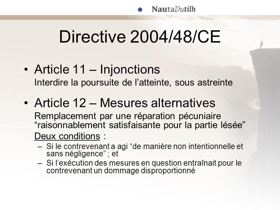 Fondement en droit Benelux Transposition de la Directive 2004/48/CE Délai : 29 avril 2006 1 er décembre 2006 (en vigueur 1 er février 2007) Demandes additionnelles –Marques : art.