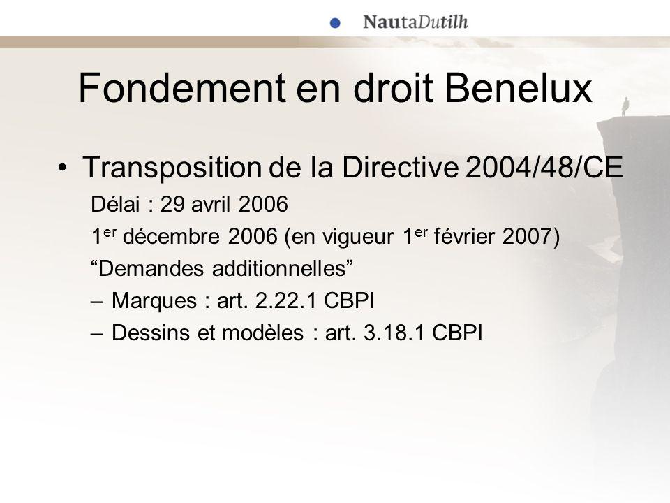 Fondement en droit Benelux Droit des marques avant la Directive 2004/48/CE –En cas datteinte portée de mauvaise foi
