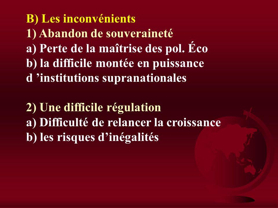 II) Les unions économiques EX : Atouts et contraintes de la zone EURO Intro : Rappel hist A) Les avantages 1)Une dynamique économique a) Un vaste espa