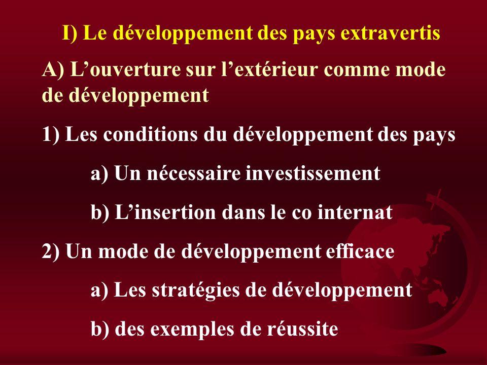 Section III : Échanges internationaux et développement I) Le développement des pays extravertis II) Le développement des pays protégés III) OMC, mondi