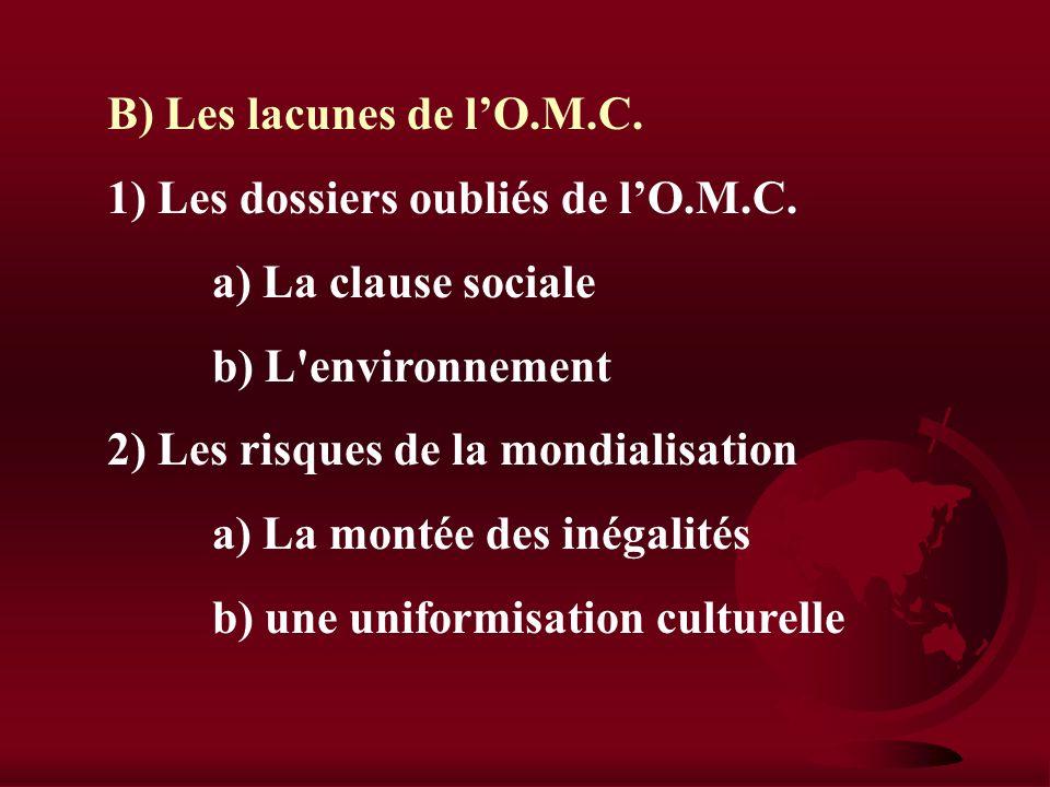 III) OMC, mondialisation et développement A) Les principes directeurs 1) Une libéralisation des échanges a) Abolition des barrières tarifaires b) La c