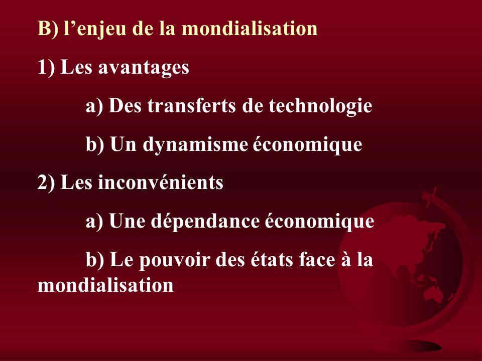 IV) Multinationales et investissements mondialisés A) Le processus de mondialisation 1) Le développement des IDE a) Une des principales dimensions de