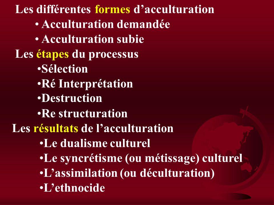 I) Culture et mondialisation / acculturation et résistances Introduction : Culture : « Ensemble des productions matérielles et immatérielles de lhomme