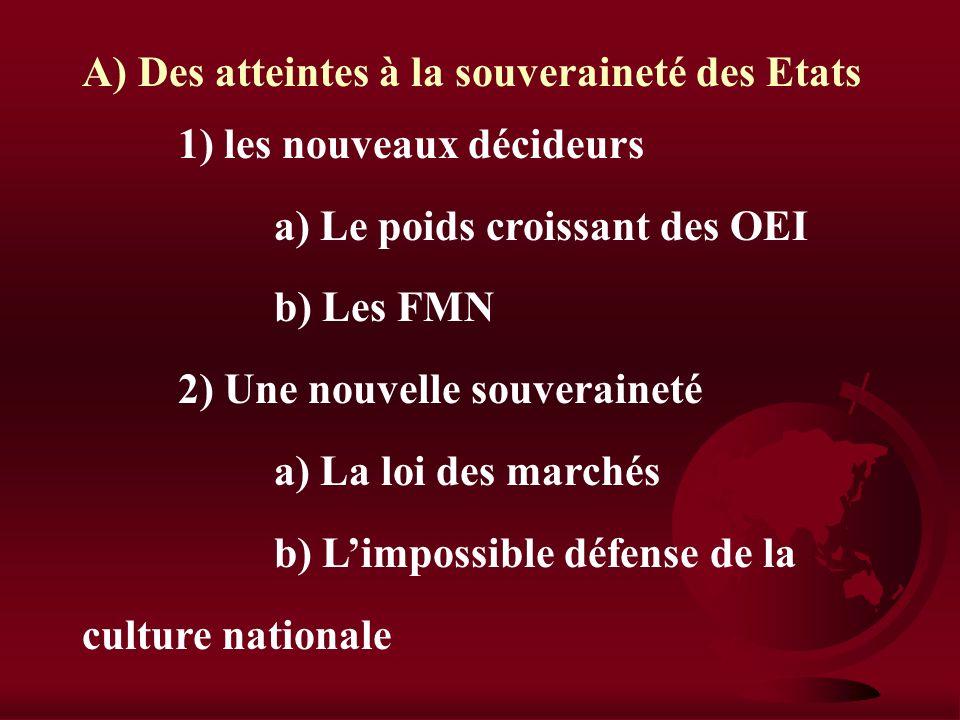 III) Nation et mondialisation Comment la dimension nationale est elle remise en cause par la mondialisation ? A) Des atteintes à la souveraineté des E
