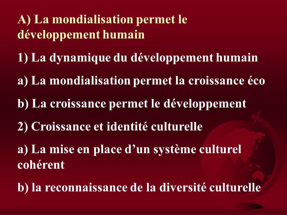IV) Développement durable et culture Est-il possible de jeter les bases dun développement durable dans une économie mondialisée A) La mondialisation p