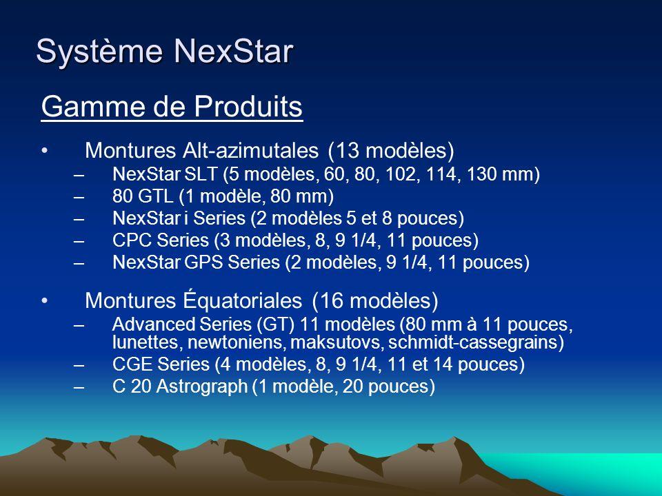 Système NexStar Gamme de Produits Montures Alt-azimutales (13 modèles) –NexStar SLT (5 modèles, 60, 80, 102, 114, 130 mm) –80 GTL (1 modèle, 80 mm) –NexStar i Series (2 modèles 5 et 8 pouces) –CPC Series (3 modèles, 8, 9 1/4, 11 pouces) –NexStar GPS Series (2 modèles, 9 1/4, 11 pouces) Montures Équatoriales (16 modèles) –Advanced Series (GT) 11 modèles (80 mm à 11 pouces, lunettes, newtoniens, maksutovs, schmidt-cassegrains) –CGE Series (4 modèles, 8, 9 1/4, 11 et 14 pouces) –C 20 Astrograph (1 modèle, 20 pouces)