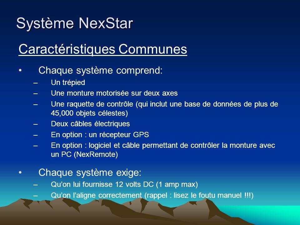 Système NexStar Caractéristiques Communes (suite) Une fois aligné, le système permet de trouver les objets désirés par lentremise de menus: –Objets de Messier [M / 1] –Objets de Caldwell [CALD / 2] –Objets NGC [NGC / 4] –Système solaire [PLANET / 5] –Étoiles par numéro SAO (Smithsonian Astrophysical Observatory) [STAR / 7] –Listes dobjets [LIST / 8], (objets par sous-menus : objets Messier, objets Caldwell, objets NGC, objets IC, étoiles par numéro SAO, étoiles par nom propre, étoiles variables, étoiles doubles, objets pour photo sur CCD, objets Abell, système solaire, constellations avec sous-menu pour les étoiles individuelles, objets par nom usuel, astérismes, tour) –Fonction TOUR (visite guidée) [TOUR / 0]
