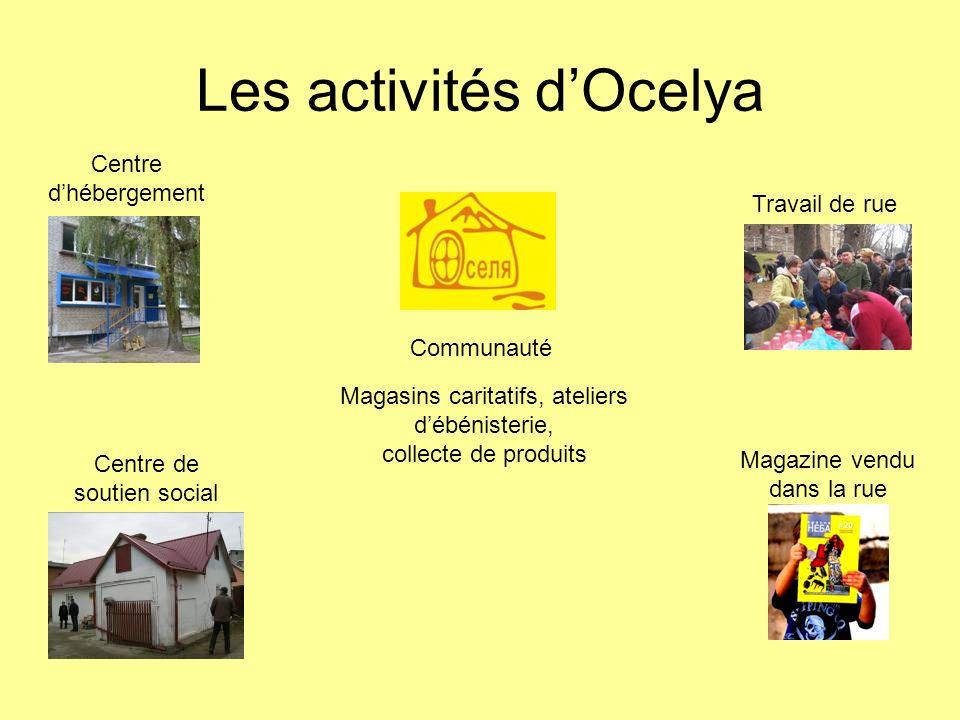 Les activités dOcelya Communauté Centre dhébergement Magazine vendu dans la rue Centre de soutien social Travail de rue Magasins caritatifs, ateliers