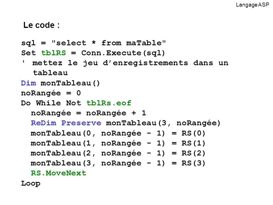 sql = select * from maTable Set tblRS = Conn.Execute(sql) mettez le jeu denregistrements dans un tableau Dim monTableau() noRangée = 0 Do While Not tblRs.eof noRangée = noRangée + 1 ReDim Preserve monTableau(3, noRangée) monTableau(0, noRangée - 1) = RS(0) monTableau(1, noRangée - 1) = RS(1) monTableau(2, noRangée - 1) = RS(2) monTableau(3, noRangée - 1) = RS(3) RS.MoveNext Loop Langage ASP Le code :