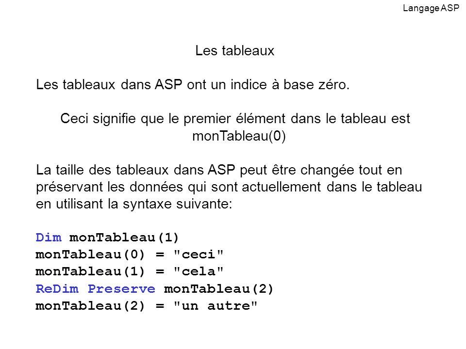 Les tableaux Les tableaux dans ASP ont un indice à base zéro. Ceci signifie que le premier élément dans le tableau est monTableau(0) La taille des tab