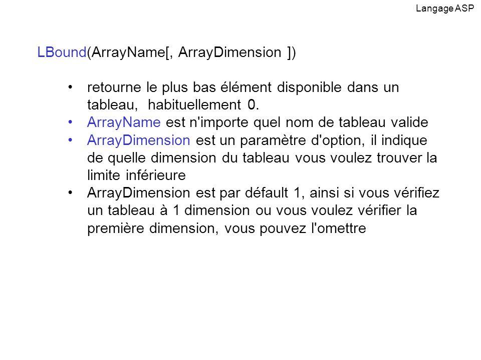 LBound(ArrayName[, ArrayDimension ]) retourne le plus bas élément disponible dans un tableau, habituellement 0. ArrayName est n'importe quel nom de ta
