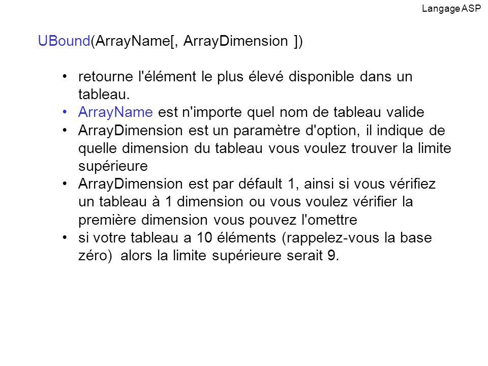 UBound(ArrayName[, ArrayDimension ]) retourne l'élément le plus élevé disponible dans un tableau. ArrayName est n'importe quel nom de tableau valide A