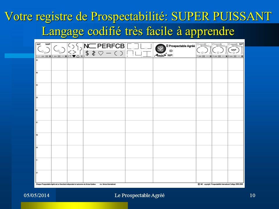 05/05/2014Le Prospectable Agréé9 Quest-ce quun Registre de Prospectabilité? Un outil SUPER PUISSANT !!! Cest votre outil de travail par excellence ser