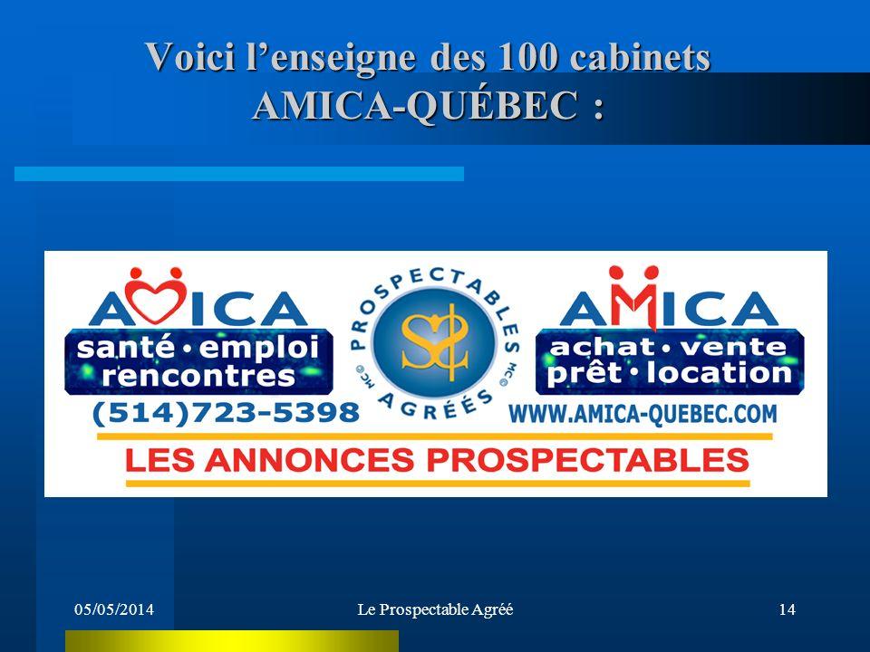 05/05/2014Le Prospectable Agréé13 Devenez Professeur de Prospectabilité ou Propriétaire dun cabinet de Prospectabilité Professeur revenu annuel potentiel 50 000$ à 95 000$ et plus Propriétaire revenu annuel potentiel 480 000$ à 2 400 000$ et plus Préalable à ces cours: vous devez avoir complété votre cours de Prospectable Agréé et selon des critères de sélection être approuvé par Amica-Québec sur vos aptitudes à lenseignement ou à ladministration À TEMPS PLEIN OU PARTIEL Possibilité de réaliser des centaines de milliers de dollars et de faire Fortune