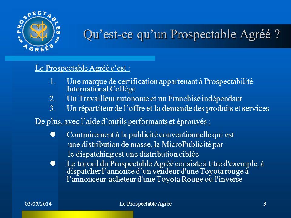 05/05/2014Le Prospectable Agréé3 Quest-ce quun Prospectable Agréé .