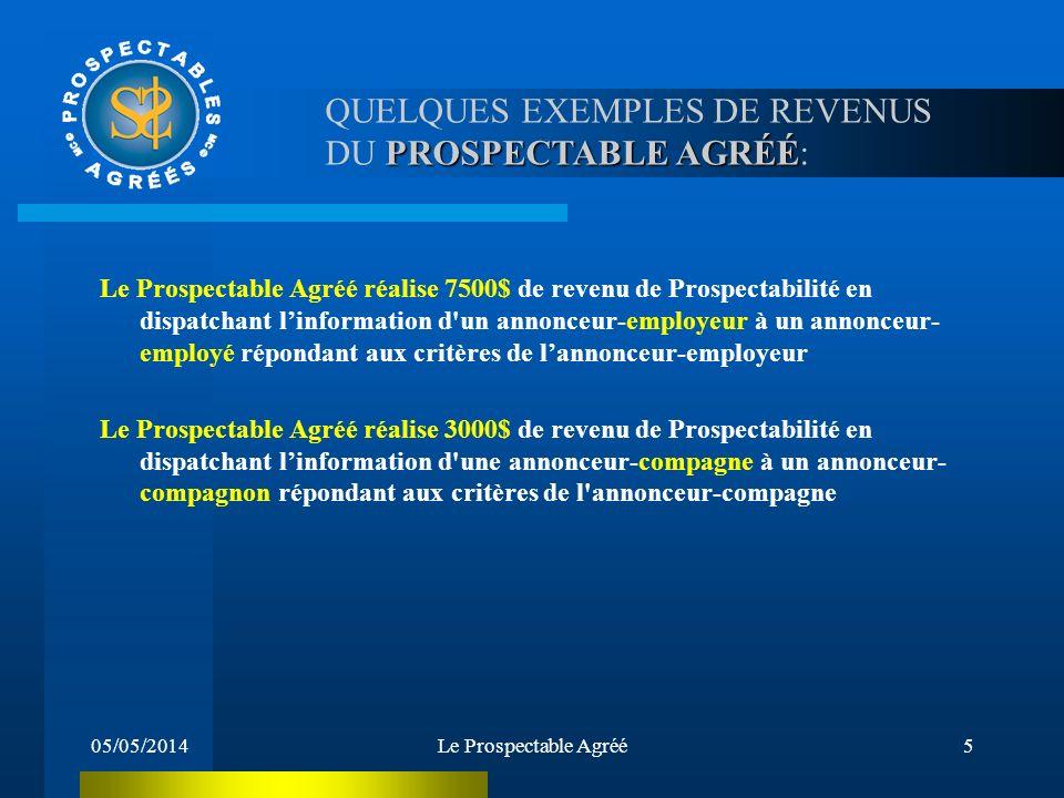 05/05/2014Le Prospectable Agréé4 PROSPECTABLE AGRÉÉ: QUELQUES EXEMPLES DE REVENUS DU PROSPECTABLE AGRÉÉ: Revenu annuel potentiel entre 35 000$ à 65 00