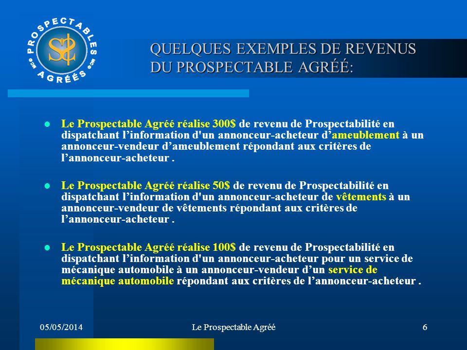 05/05/2014Le Prospectable Agréé5 Le Prospectable Agréé réalise 7500$ de revenu de Prospectabilité en dispatchant linformation d'un annonceur-employeur