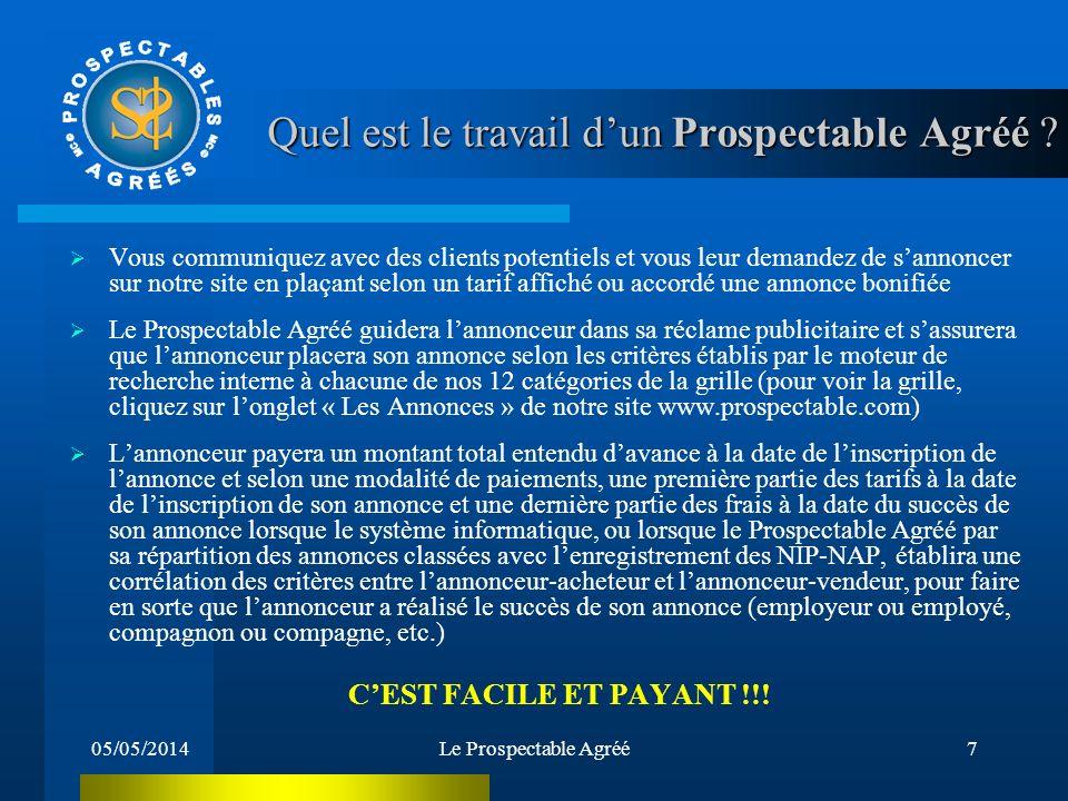 05/05/2014Le Prospectable Agréé6 QUELQUES EXEMPLES DE REVENUS DU PROSPECTABLE AGRÉÉ: Le Prospectable Agréé réalise 300$ de revenu de Prospectabilité e
