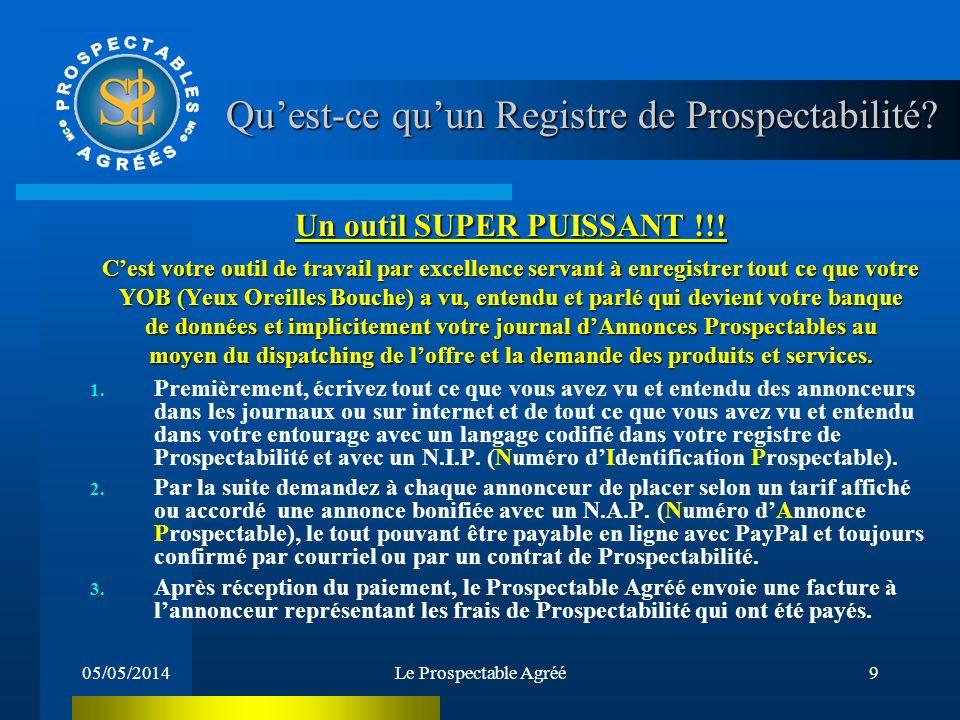 05/05/2014Le Prospectable Agréé8 Quel est le travail dun Prospectable Agréé ? Cest aussi une personne qui se construit son propre Journal dAnnonces Pr