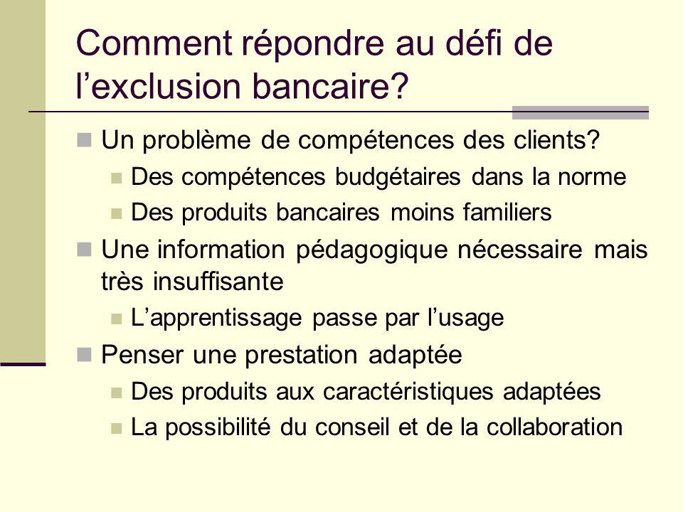 Comment répondre au défi de lexclusion bancaire.Un problème de compétences des clients.