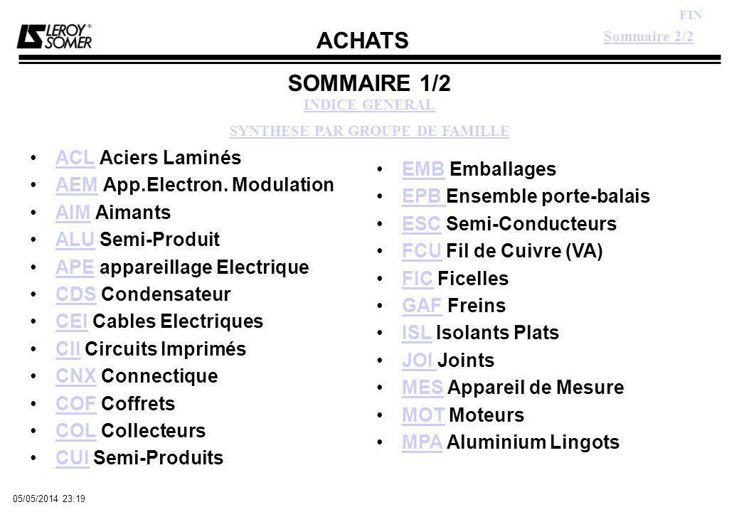 ACHATS FIN 05/05/2014 23:21 SOMMAIRE 1/2 ACL Aciers LaminésACL AEM App.Electron.