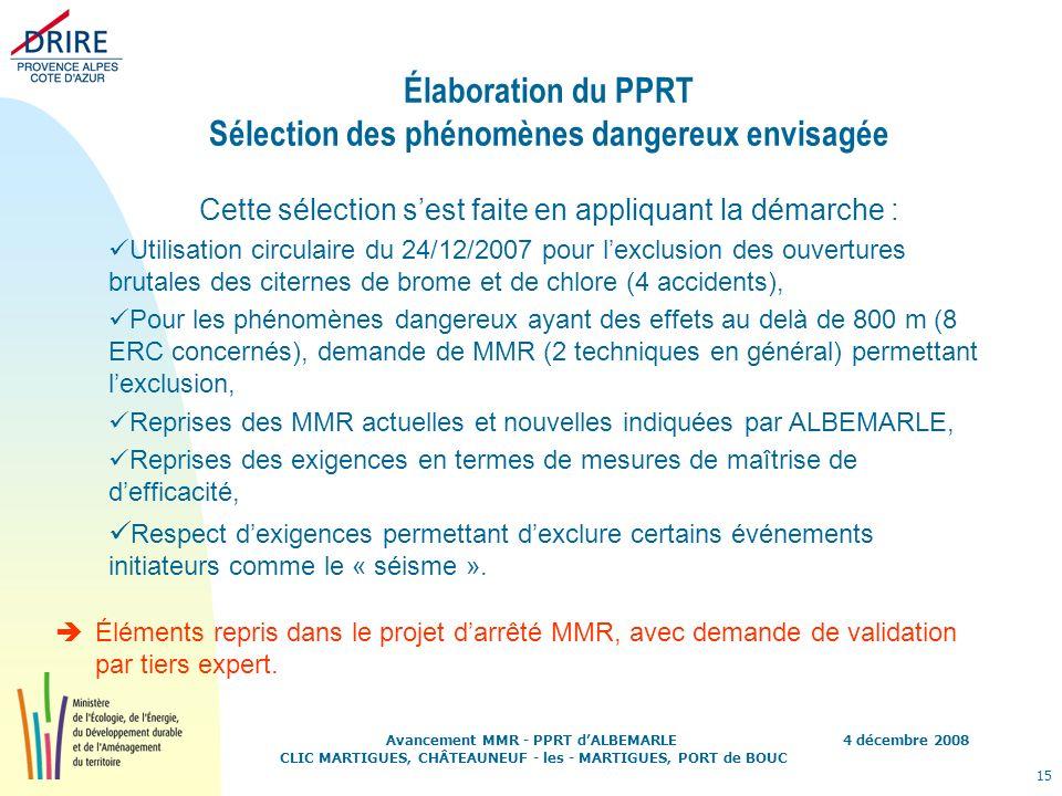 4 décembre 2008 15 Avancement MMR - PPRT dALBEMARLE CLIC MARTIGUES, CHÂTEAUNEUF - les - MARTIGUES, PORT de BOUC Élaboration du PPRT Sélection des phén