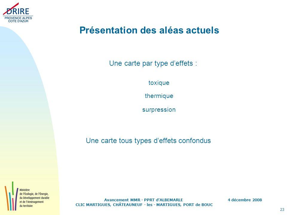 4 décembre 2008 23 Avancement MMR - PPRT dALBEMARLE CLIC MARTIGUES, CHÂTEAUNEUF - les - MARTIGUES, PORT de BOUC Présentation des aléas actuels toxique