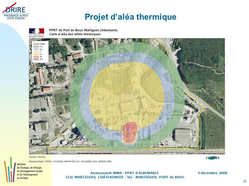 4 décembre 2008 25 Avancement MMR - PPRT dALBEMARLE CLIC MARTIGUES, CHÂTEAUNEUF - les - MARTIGUES, PORT de BOUC Projet daléa thermique