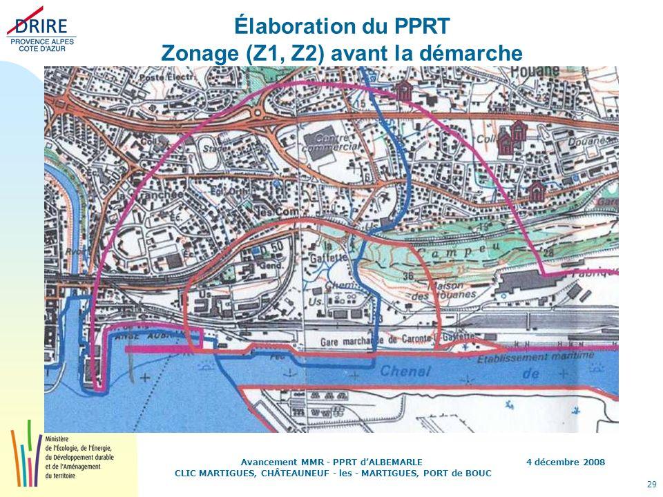 4 décembre 2008 29 Avancement MMR - PPRT dALBEMARLE CLIC MARTIGUES, CHÂTEAUNEUF - les - MARTIGUES, PORT de BOUC Élaboration du PPRT Zonage (Z1, Z2) av