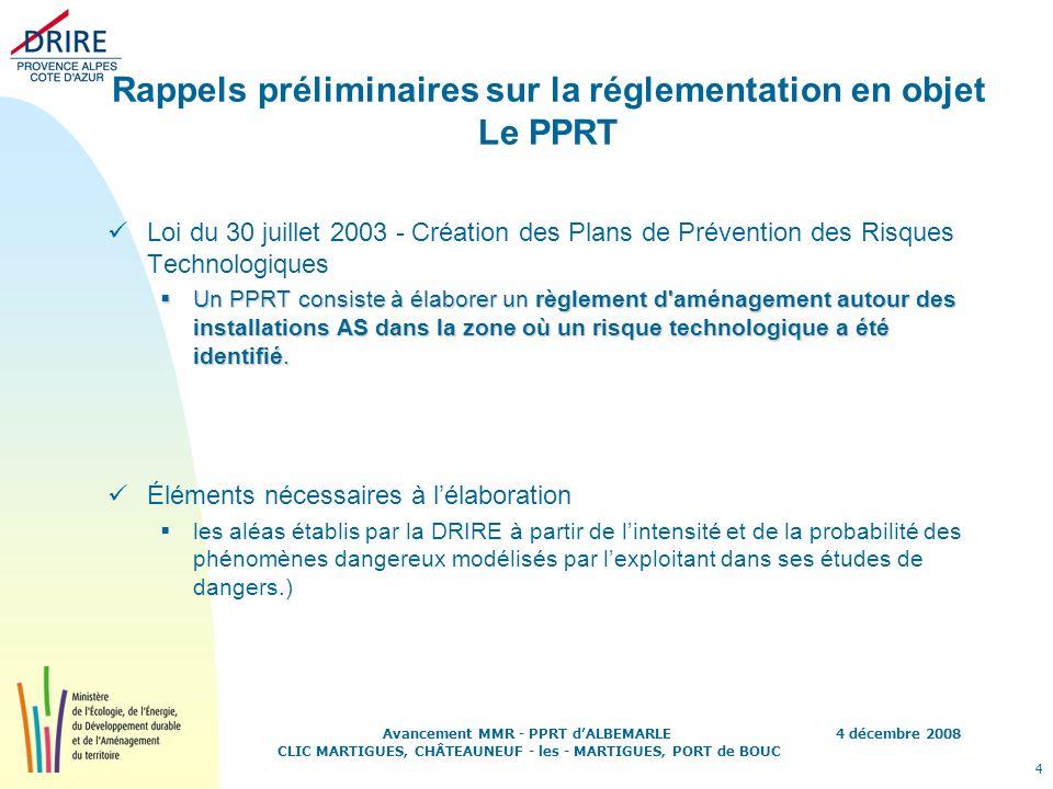 4 décembre 2008 4 Avancement MMR - PPRT dALBEMARLE CLIC MARTIGUES, CHÂTEAUNEUF - les - MARTIGUES, PORT de BOUC Rappels préliminaires sur la réglementa