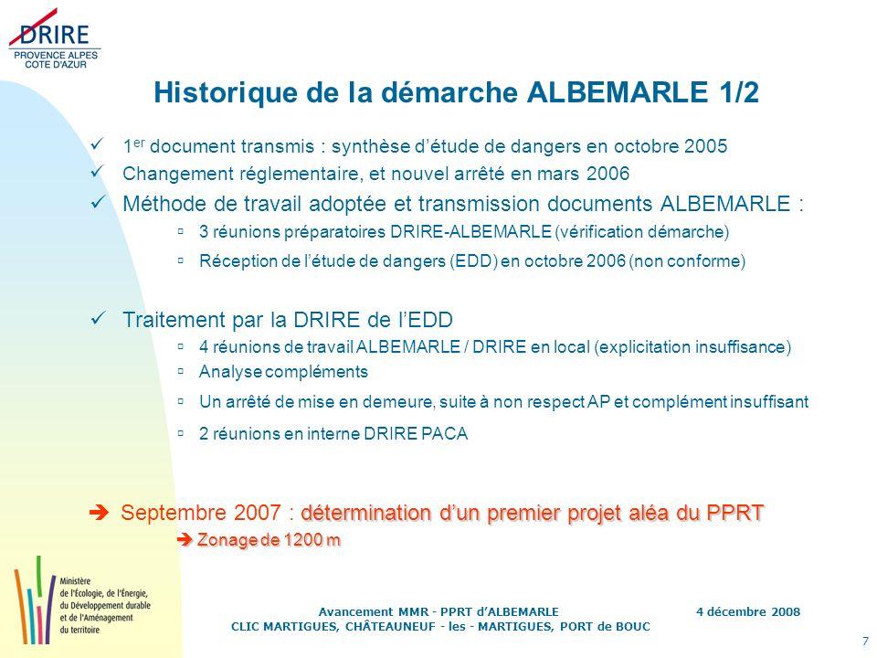 4 décembre 2008 7 Avancement MMR - PPRT dALBEMARLE CLIC MARTIGUES, CHÂTEAUNEUF - les - MARTIGUES, PORT de BOUC Historique de la démarche ALBEMARLE 1/2