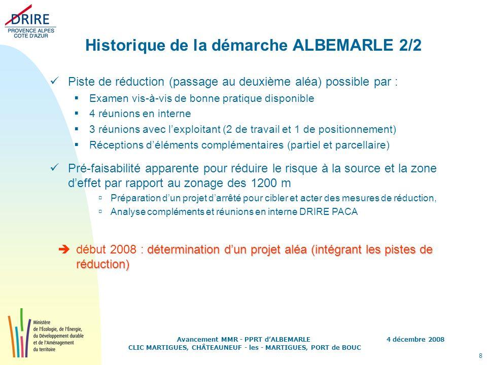 4 décembre 2008 8 Avancement MMR - PPRT dALBEMARLE CLIC MARTIGUES, CHÂTEAUNEUF - les - MARTIGUES, PORT de BOUC Historique de la démarche ALBEMARLE 2/2