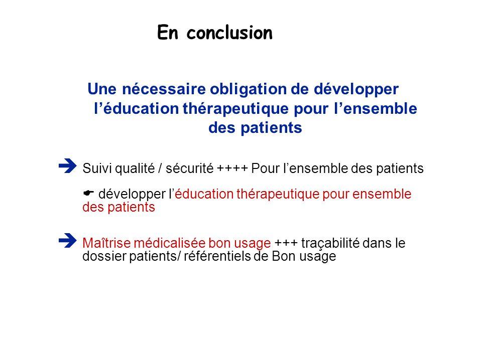 En conclusion Une nécessaire obligation de développer léducation thérapeutique pour lensemble des patients Suivi qualité / sécurité ++++ Pour lensembl