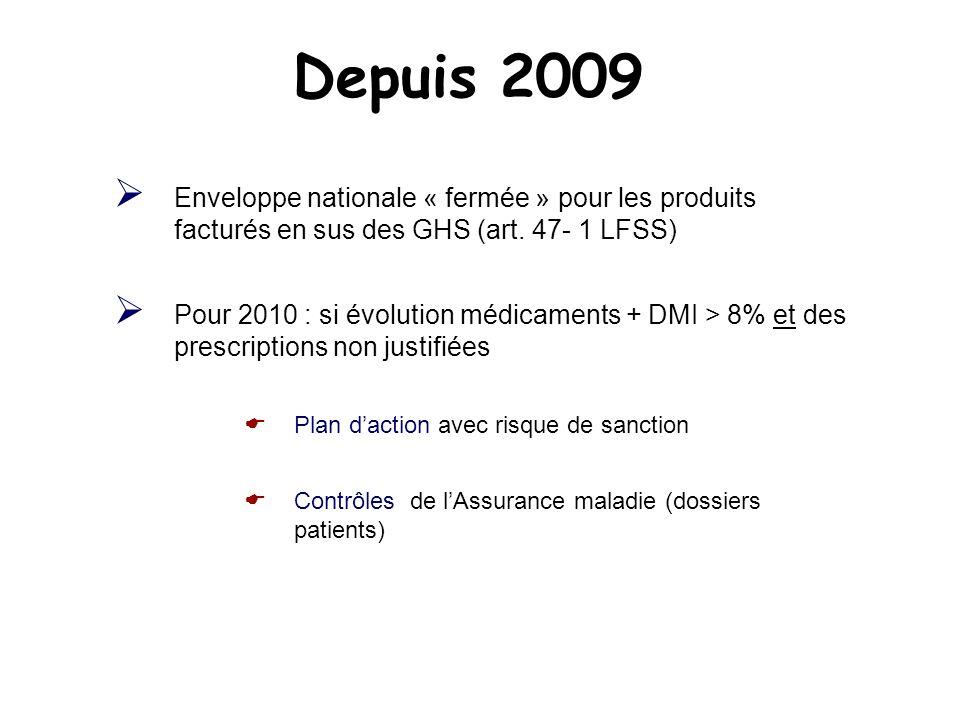 Depuis 2009 Enveloppe nationale « fermée » pour les produits facturés en sus des GHS (art. 47- 1 LFSS) Pour 2010 : si évolution médicaments + DMI > 8%