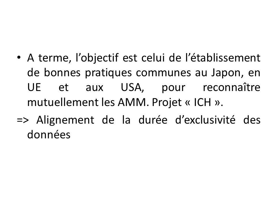 A terme, lobjectif est celui de létablissement de bonnes pratiques communes au Japon, en UE et aux USA, pour reconnaître mutuellement les AMM.